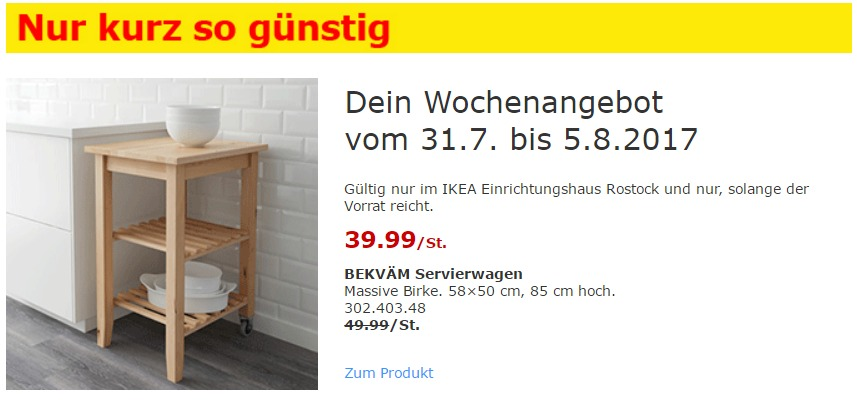 IKEA BEKVÄM Servierwagen Massive Birke. 58×50 cm, 85 cm hoch.