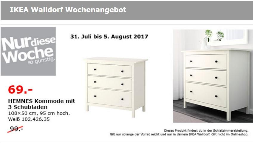 IKEA HEMNES Kommode mit 3 Schubladen, 108x50 cm, 95 cm hoch, weiß gebeizt