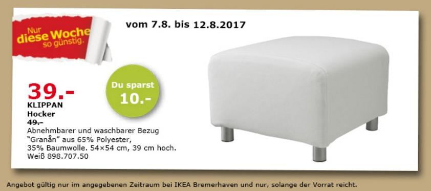 IKEA KLIPPAN Hocher, 54x54 cm, 39 cm hoch, weiß