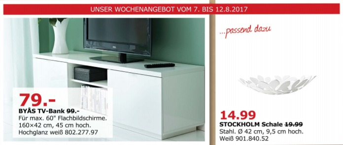 IKEA BYAS TV-Bank, 160x42 cm, 45 cm hoch