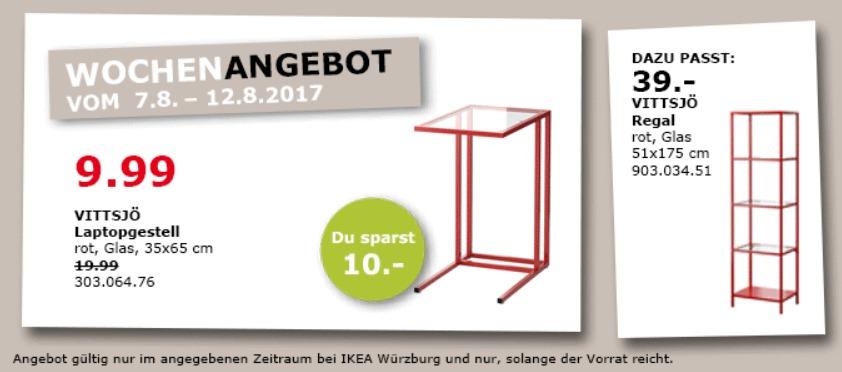 IKEA VITTSJÖ Laptopgestell, 35x65 cm, rot, Glas