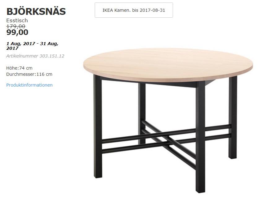 IKEA BJÖRKSNÄS Esstisch, Höhe: 74 cm, Durchmesser:116 cm