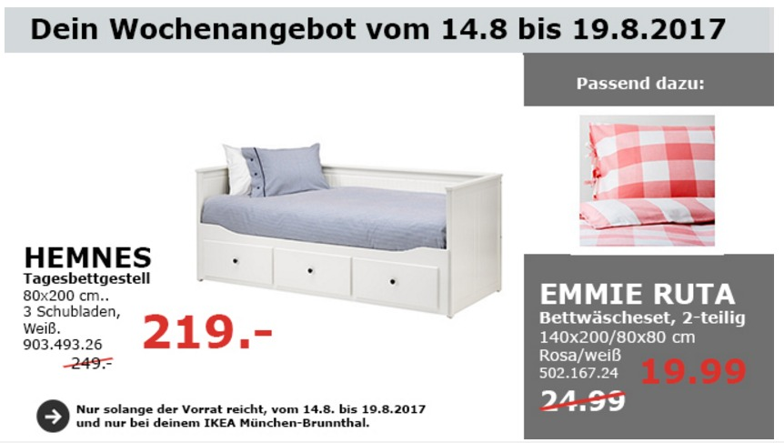IKEA HEMNES Tagesbettgestell, 80x200 cm, weiß