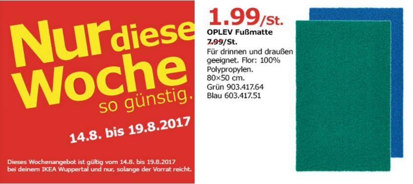 IKEA OPLEV Fußmatte, 80x50 cm, grün oder blau
