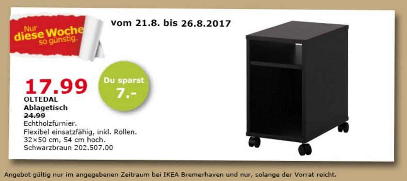 IKEA OLTEDAL Ablagetisch, 32x50 cm, 54 cm hoch, schwarzbraun