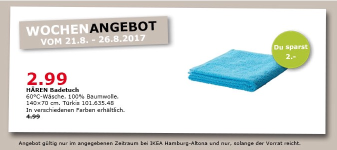 IKEA HÄREN Badetuch, 100% Baumwolle, 140x70 cm