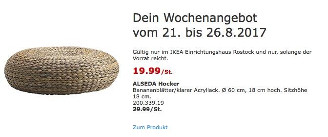 IKEA ALSEDA Hocker Bananenblätter/klarer Acryllack. Ø 60 cm, 18 cm hoch. Sitzhöhe 18 cm. - jetzt 33% billiger