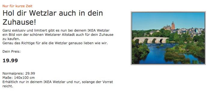 IKEA Bild Wetzlarer Altstadt, 140x100 cm - jetzt 33% billiger