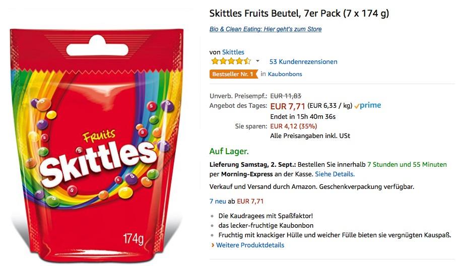 Skittles Fruits Beutel, 7er Pack (7 x 174 g), (EUR 6,33 / kg)