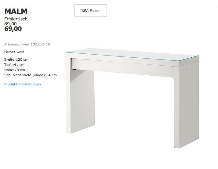 IKEA MALM Frisiertisch, 120x41 cm, 78 cm hoch, weiß