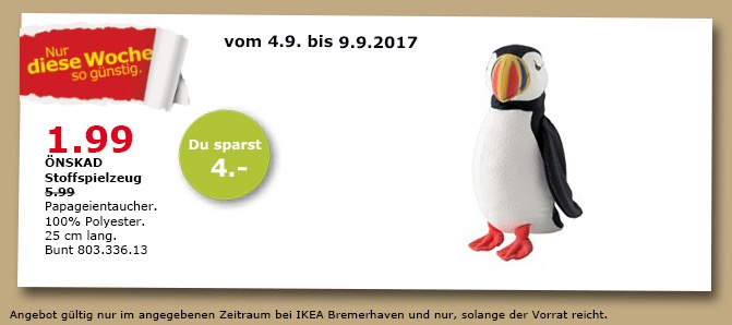 IKEA ÖNSKAD Stoffspielzeug, 25 cm lang
