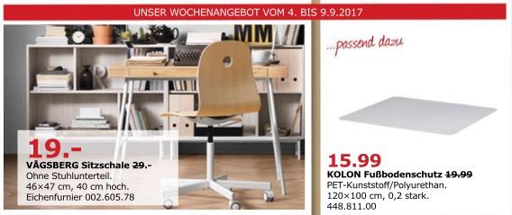 IKEA VÄGSBERG Sitzschale, 46x47 cm, 40 cm hoch. Eichenfurnier