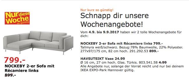 IKEA NOCKEBY 2-er Sofa mit Repariere links. Bezug: Tallmyra weiß/schwarz