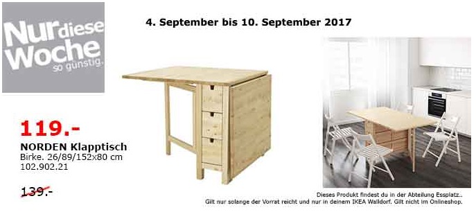 IKEA NORDEN Klapptisch, 26/89/152x80 cm. Birke