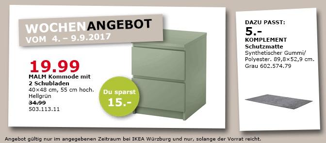IKEA MALM Kommode mit 2 Schubladen, hellgrün