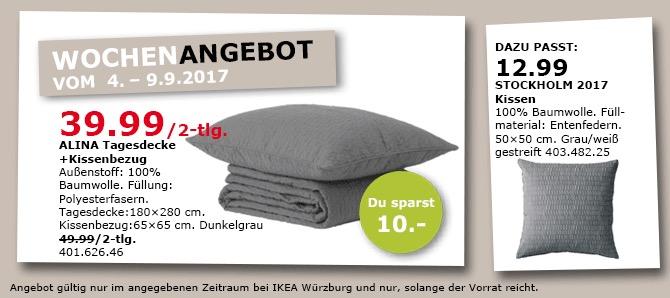 IKEA ALINA Tagesdecke (180x280 cm)+ Kissenbezug (65x65 cm), dunkelgrau