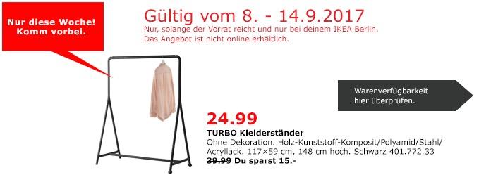 IKEA TURBO Kleiderständer, 117x59 cm, 148 cm hoch, schwarz