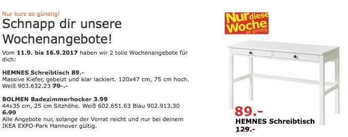 IKEA HEMNES Schreibtisch, 120x47 cm, 75 cm hoch, weiß