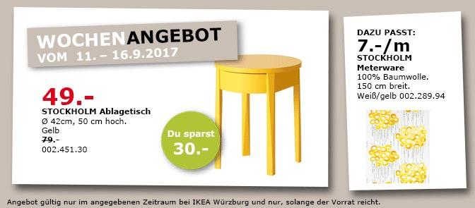 IKEA STOCKHOLM Ablagetisch, 42x50 cm, gelb