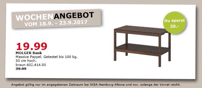 IKEA MOLGER Bank, 50 cm hoch, braun