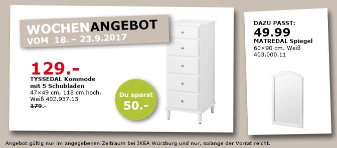 IKEA TYSSEDAL Kommode mit 5 Schubladen, 47x49 cm, 118 cm hoch