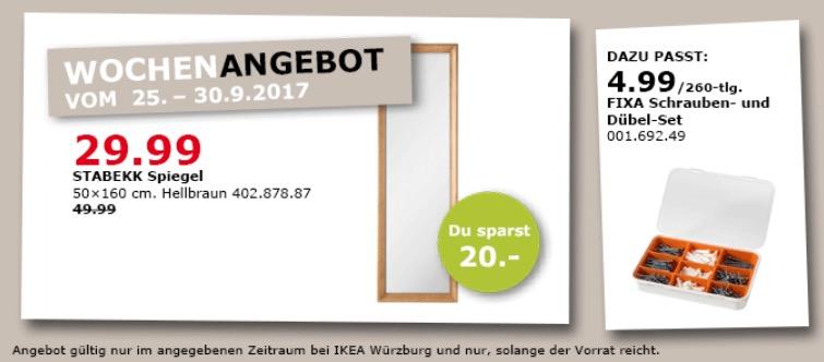 IKEA STABEKK Spiegel, 50x160 cm, hellbraun