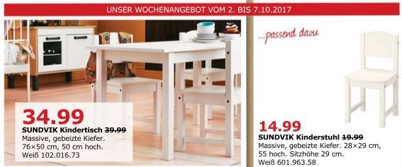 IKEA SUNDVIK Kindertisch, 76x50 cm, 50 cm hoch, weiß