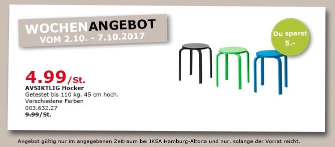 IKEA AVSIKTLIG Hocker, 45 cm hoch, versch. Farben