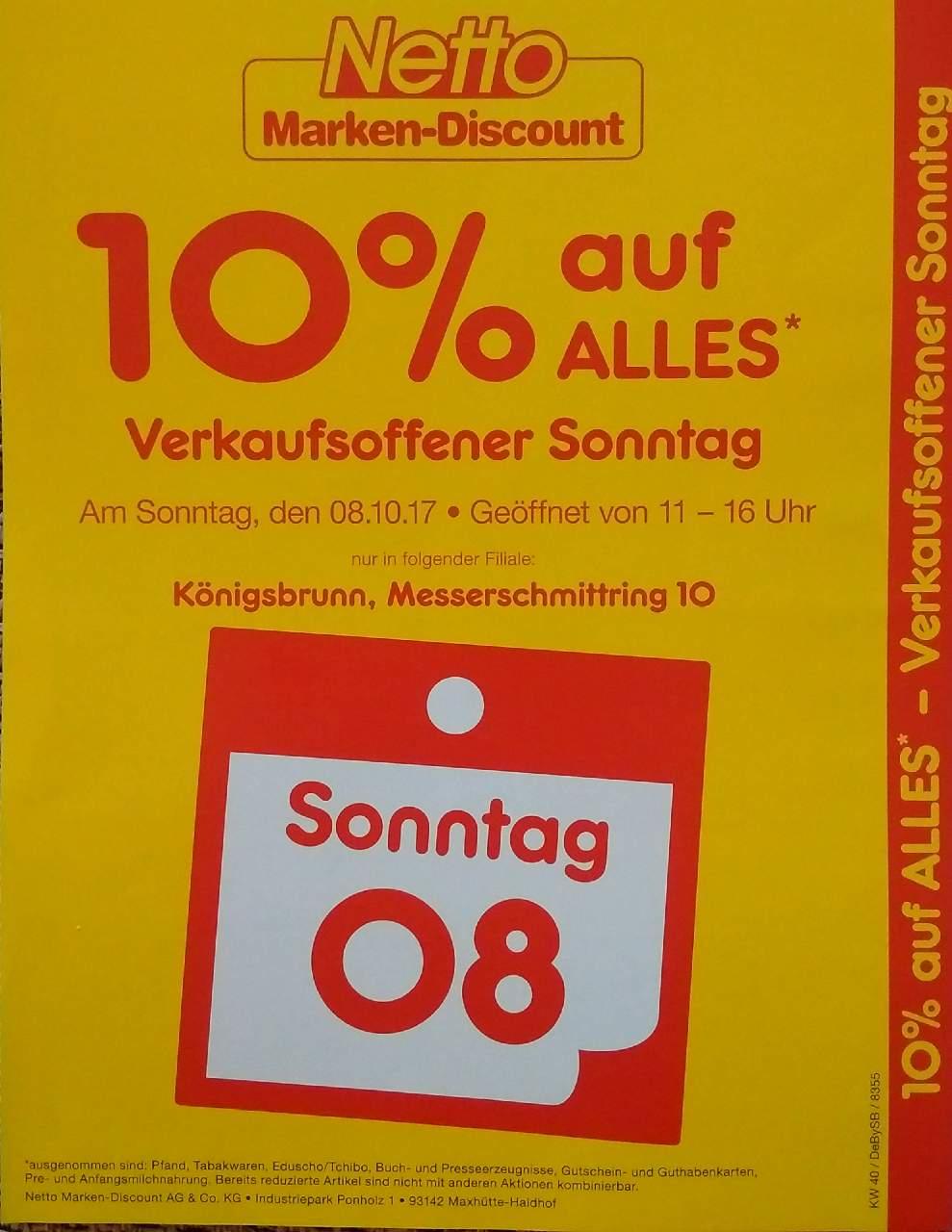 Netto Marken-Discount Königsbrunn: 10% Rabatt auf fast alles