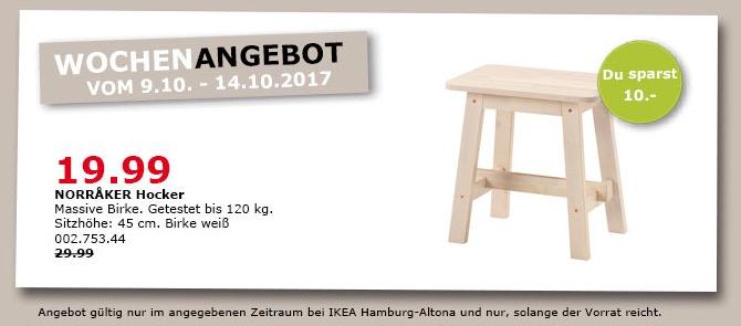 IKEA NORRAKER Hocker, 45 cm hoch, weiß