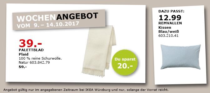 IKEA PALETTBLAD Plaid, 100% reine Schurwolle