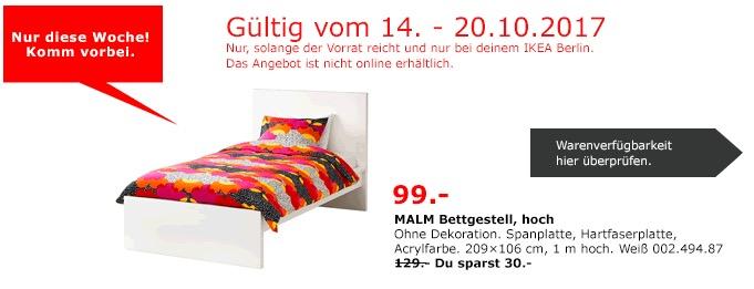 IKEA MALM Bettgestell, 209x106 cm, weiß