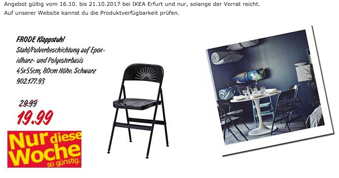 IKEA FRODE Klappstuhl - jetzt 33% billiger