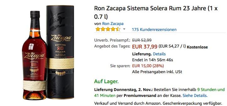 Ron Zacapa Sistema Solera Rum 23 Jahre (1 x 0.7 l)