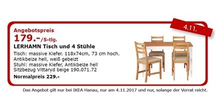 IKEA LERHAMN Tisch und 4 Stühle - jetzt 22% billiger