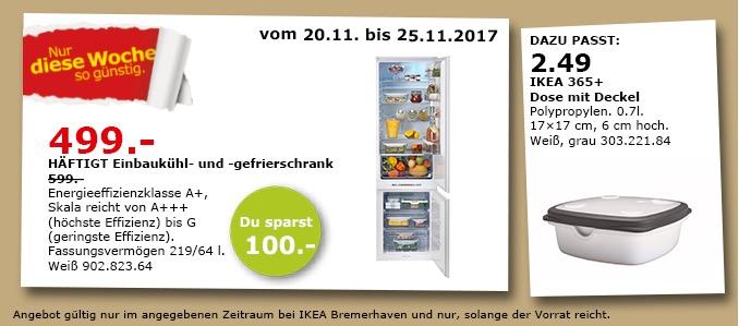 IKEA HÄFTIGT Einbaukühl- und - Gefrierschrank