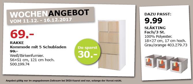 IKEA RAKKE Kommode mit 5 Schubladen