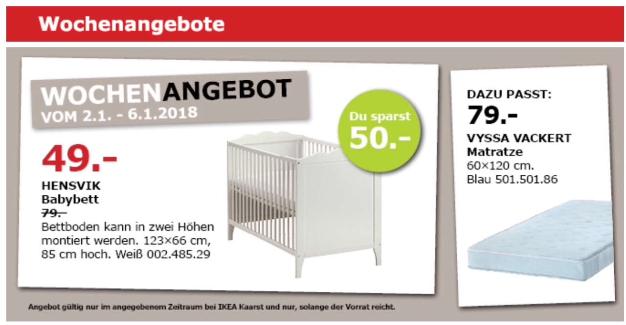 IKEA HENSVIK Babybett