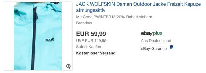 JACK WOLFSKIN Damen Outdoor Jacke in Eisblau oder Schwarz