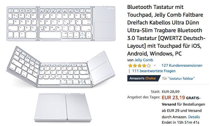 Jelly Comb Faltbare Bluetooth-Tastatur mit Touchpad in Weiß