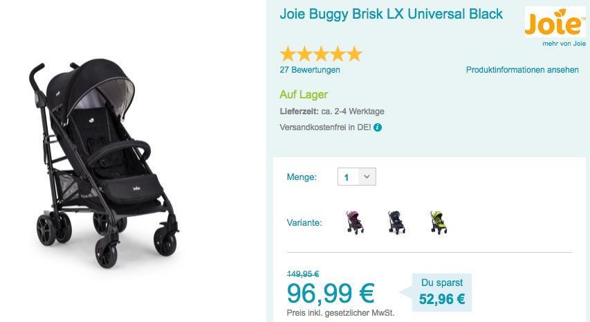 Joie Buggy Brisk LX Universalinkl. Regenverdeck - jetzt 17% billiger