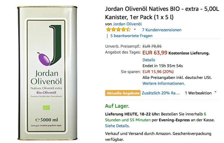 Jordan Olivenöl Natives BIO - extra - 5,00L Kanister