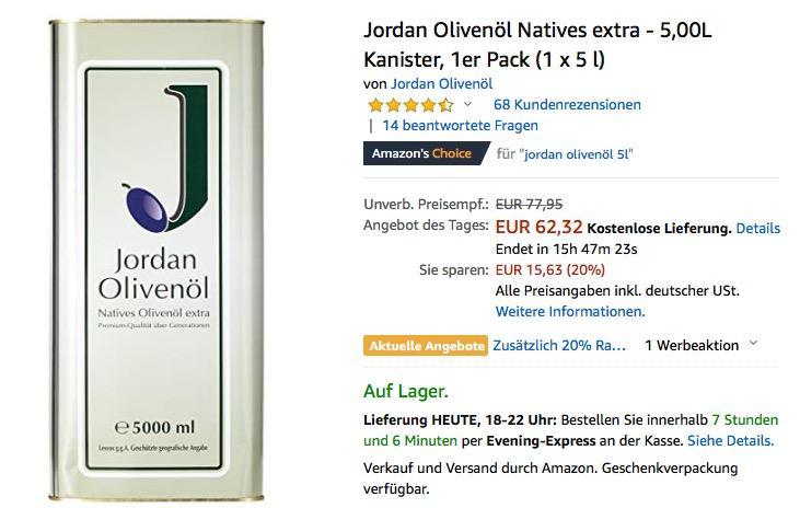 Jordan Olivenöl Natives extra - 5,00L Kanister