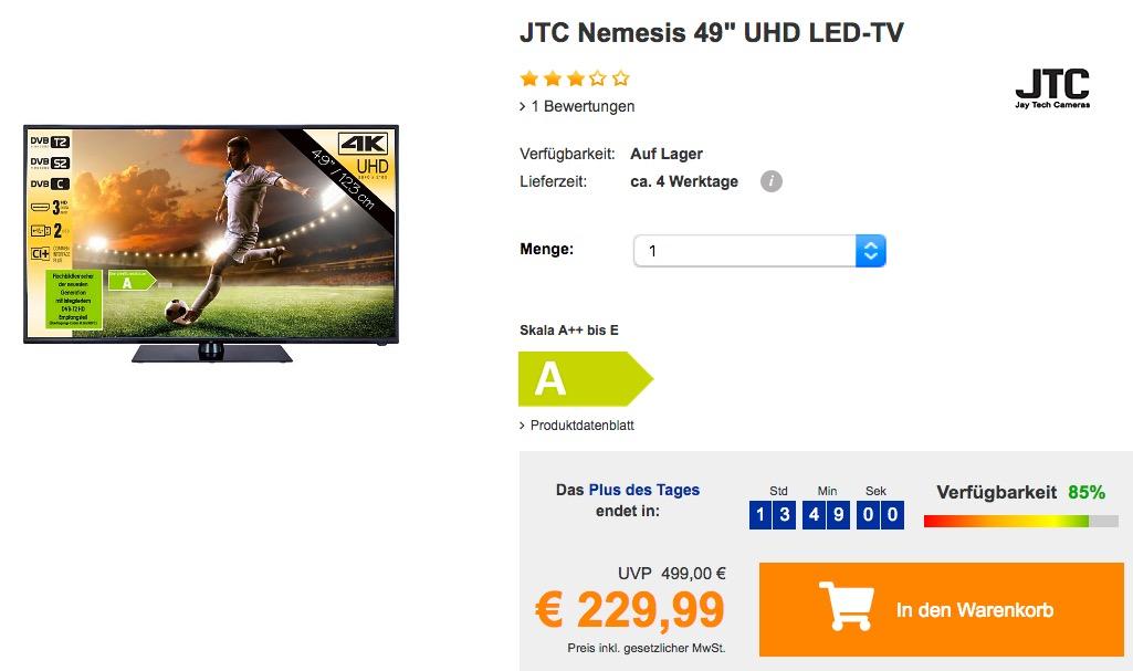 "JTC Nemesis 49"" UHD-Fernseher"