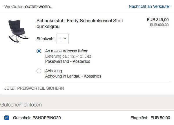 """KAWOLA Schaukelstuhl  Schaukelsessel """"Fredy"""""""