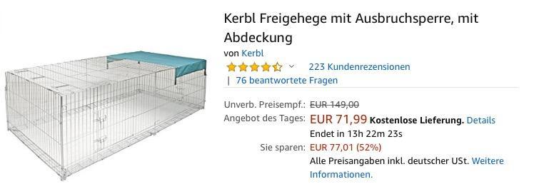 Kerbl Freigehege  230 x 115 x 70 cm mit Ausbruchsperre und Abdeckung
