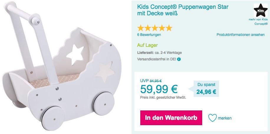 Kids Concept® Puppenwagen Star mit Decke, weiß