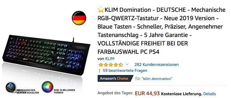 KLIM Domination - Mechanische RGB-QWERTZ-Tastatur