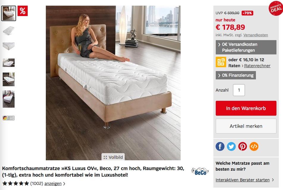Komfortschaummatratze »KS Luxus OV«, Beco, 27 cm hoch, 90x200 cm