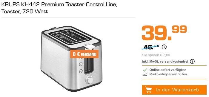 Krups KH442 Control Line Premium Toaster mit 6 Bräunungsstufen